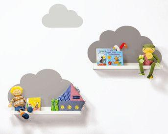 Ikea RIBBA Bilderleisten mit Wolkenreich Aufklebern Farbe Taupe / IKEA Hack / Kinderregale / Ideale Dekoration für das Kinderzimmer passend zur Charmtroll Baby Kollektion von IKEA