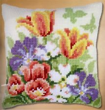 Spring Flowers Chunky Cross Stitch Cushion Front Kit 40x40cm Vervaco