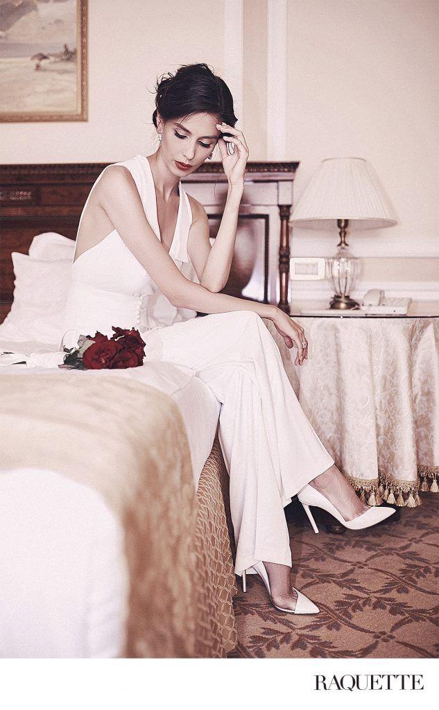 RAQUETTE Jean bridal jumpsuit - for a modern bride.    Salopeta pentru mirese moderne, in stil Old Hollywood, cu papion deconstruit si centura de tip frac.    Online orders: www.maisonraquette.com/onlinestore    Ad Campaign by Banana Editorials www.bananaeditorials.com