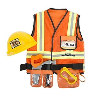 It's time for play with the personalized Melissa & Doug Construction Worker RolePlay Set. Your little construction worker will be ready for the job with this   bright orange, machine-washable, vest high-lighted with reflective material and a tool belt, a yellow hard hat, goggles, a hammer, a saw, and a name tag.       Personalize the back of costume and the front on the ID card.                   <br><br>                                                                        -Ages 3-6<br…