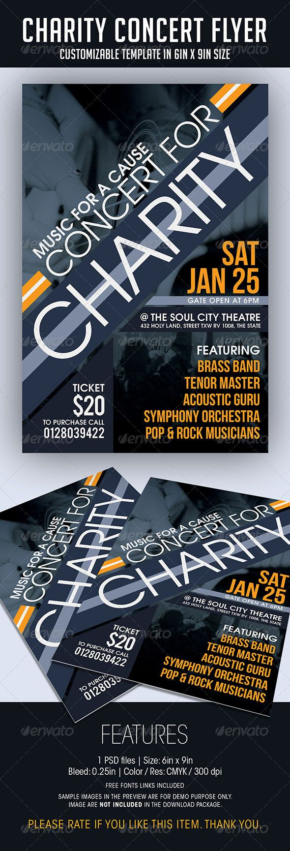 Charity Concert Flyer #GraphicRiver CHARITY CONCERT FLYER FEATURES 1 PSD file • PSD Layers are well organized, grouped, and appropriately named Size: 6in x 9in (Portrait) Bleed: 0.25in Color: CMYK / 300 dpi Fonts Bebas Neue TeX-Gyre-Adventor • Photo in the preview is for DEMO purpose only, and NOT INCLUDED in the download package. • A text file listing the URL of free fonts is included Please rate if you like this item. Thank you so much!! MORE CONCERT THEME FLYER BY SOULMEMORIA YOU MAY…