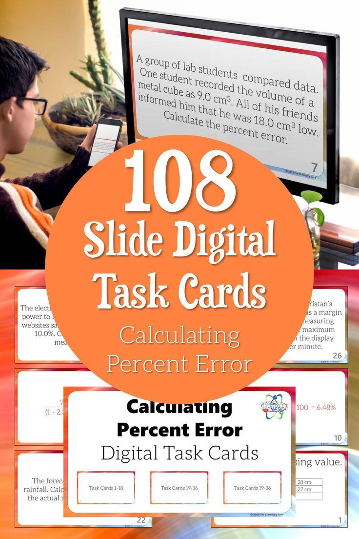 Calculating Percent Error Digital Task Cards Distance Learning Digital Task Cards Task Cards Learning Stations