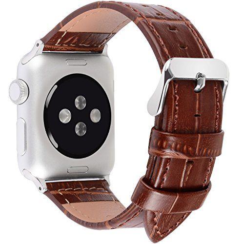 nice Apple Watch Correa, Fullmosa®Bambú Jan Series Apple Watch Pulsera de Piel Apple Watch Band Reemplazo de Reloj con Costuras Blancas y Cierre de Acero Inoxidable para Apple Watch iWatch Serie 1 Serie 2, 38mm, Negro