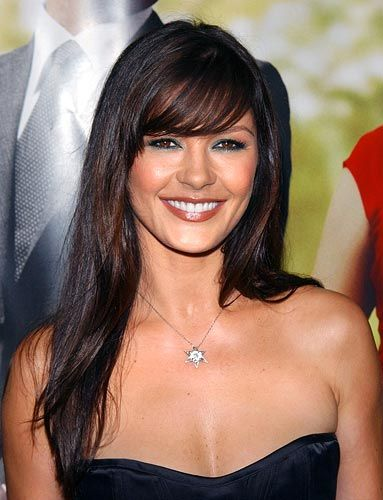 Catherine Zeta Jones- who doesn't love her. Classic brunette with cute side swept bangs.