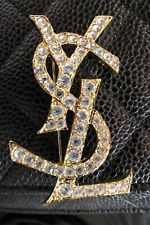 YSL YVES SAINT LAURENT PIN BROOCH CRYSTALS LOGO EXCELLENT