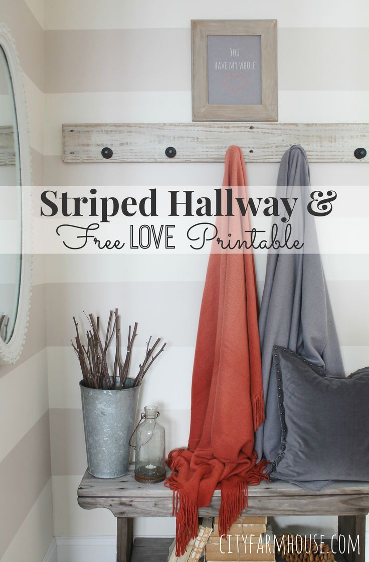 Striped Hallway & Free Love Printable City Farmhouse