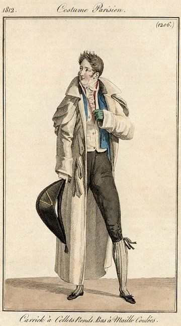 Men's outerwear (including ulster with rounded capes), 1812. (That hair, tho.)