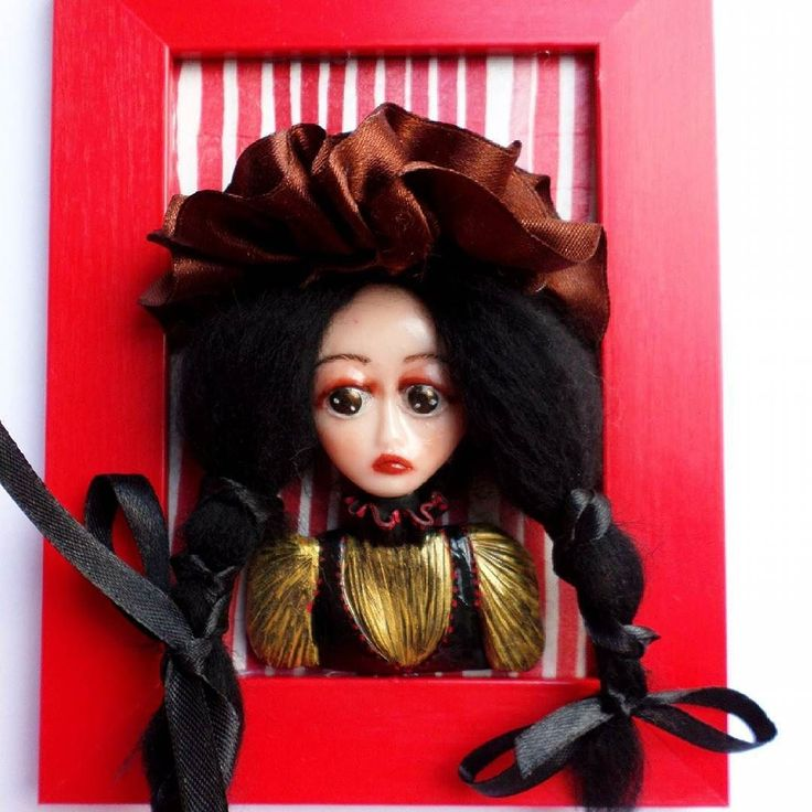 Countess Katrina and her ridiculous hat is now available! Countess Katrina has been created using soft beautiful alpaca hair clay satin acrylics wooden frame etc. #frame #queen #countess #brunette #doll #artdoll #handmadepotrait #portrait #creepyportrait #creepydoll #gothdoll #victoriangoth #victoriandoll #victoriandecoration #gothicstyle #gothicart #gothart #sculpture #sculpteddoll #creepycute #creepygoth #cutegoth #saddoll #sadgirl #dark #darkart #gothicbeauty #gothiclolita #darkness