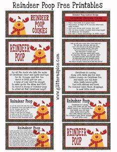 Free Printable Reindeer Poop Poem Gift Tags #printables #freeprintables #reindeerpoop #christmas #pooppoems