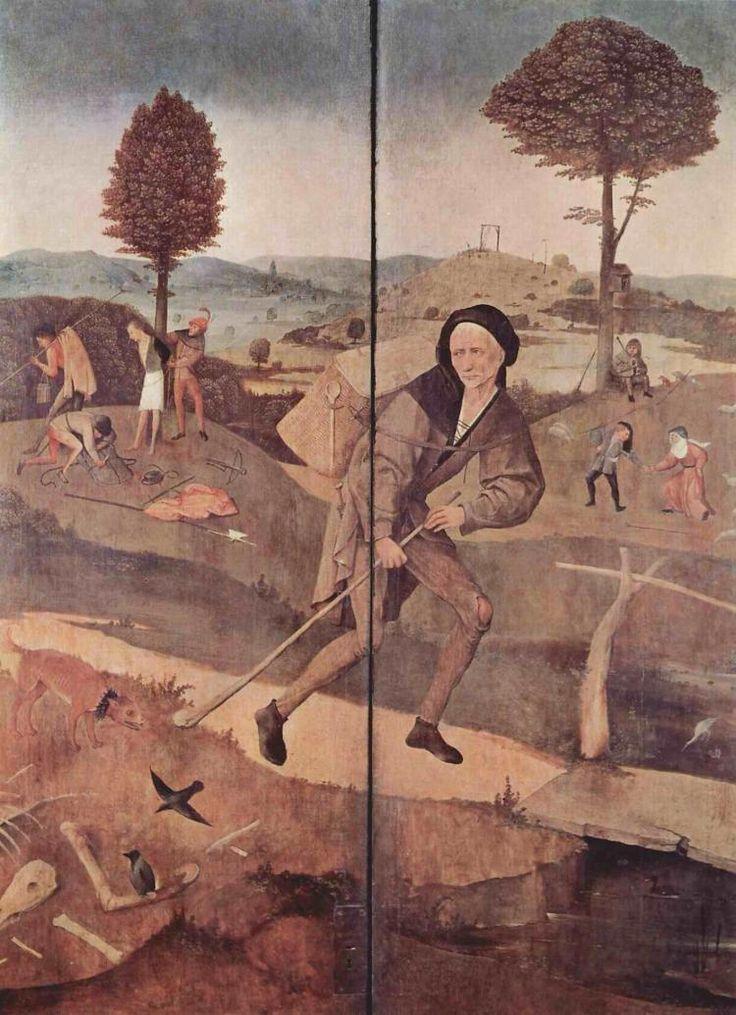 Иероним Босх -  Алтарь «Воз сена» Жизненный путь. Внешние ставни алтаря  (1502) - Открыть в полный размер