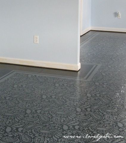 Painted Stenciled Floor by Lovely Etc. Blog. using Paisley Allover Stencil from Cutting Edge