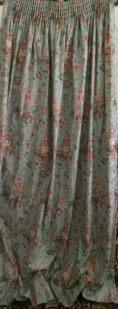 3 Vintage Panels Richard Mulligan Chinoiserie Fabric Drapes Curtains