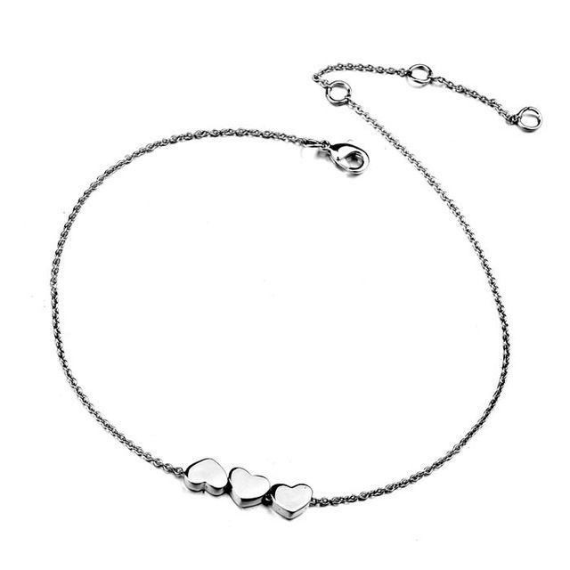 Klasik kadın takı aksesuarları, altın kaplama güzel kemik yılan zinciri ile birlikte pürüzsüz kalp kalp halhal (A390012)