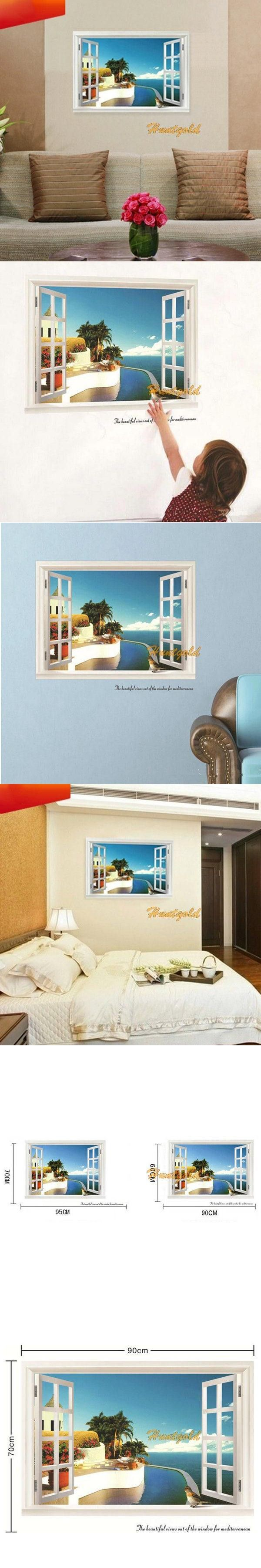 Fashion Mediterranean Style Window Beach Wall Sticker Home Decor Decals Vinyl Art $4.52
