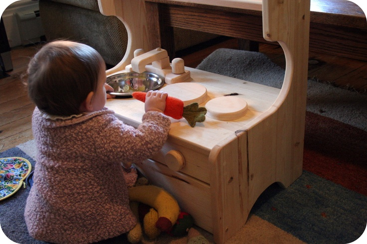 Mini Wooden Play Kitchen Set, Natural & Organic. $80.00, via Etsy.  It goes on the floor!