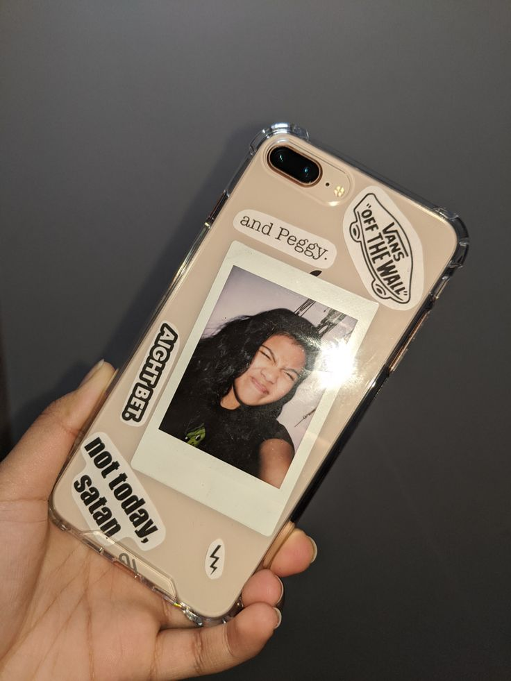 VSCO clear phone case, Polaroid picture, diy, red bubble