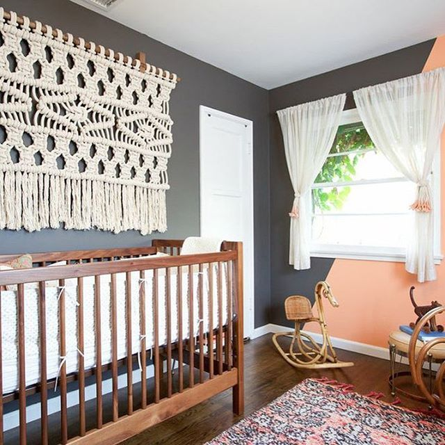 2017 Nursery Trend: Woven Wall Hangings. Boho vibes are still trending strong. In 2016, it was all about the Southwest, but this year our Boho trends have added a punch of glam. What really stands out are the textured wall hangings—woven, macrame, braided, feathers—it doesn't matter. We love them all, and we see this trend continuing in 2017.  LINK IN PROFILE to see more ways to rock this look // Photo credit: @sally_england - isn't her design gorgeous?!