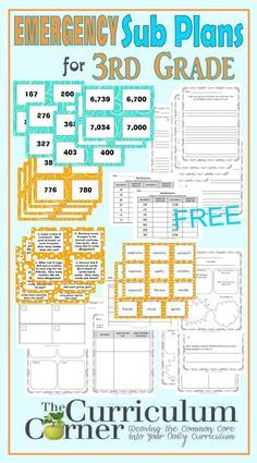 3rd Grade Emergency Sub Plans FREE from The Curriculum Corner                                                                                                                                                                                 More