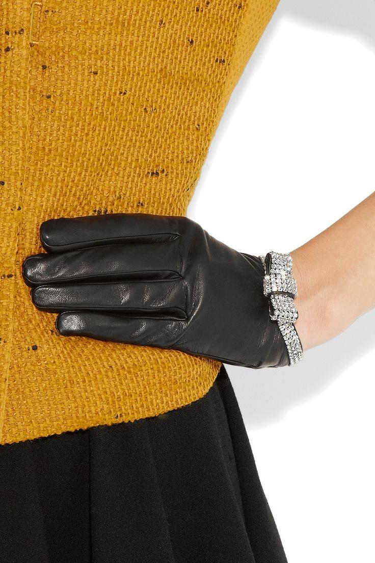Black leather gloves brisbane - Causse Gantier Grace Swarovski Crystal Embellished Leather Gloves Net A Porter