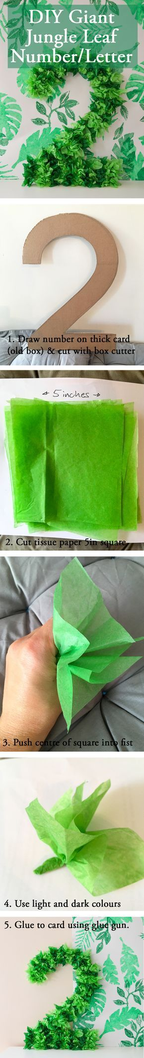 DIY How to make giant number letter to look like foliage out of green tissue paper. Click to get more inspiration on The Impala Collection website. Keywords: Camping, Out of Africa, Safari, Jungle, Africa, Savannah, Serengeti, Zoo, Leaf, Wildlife, Wild, Decor, Party planning, Kids parties, Birthday parties, Christening parties, Education, DIY, Tribal, Tropical, Bush, Theme, Interiors, Tips, Ideas, Advice, Crafts, Budget, Homeware, Serveware, Fair Trade, UK #diypartydecorationsbudget