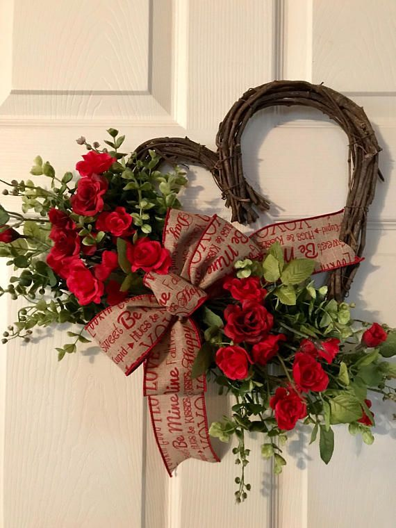 Valentine Wreathheart Grapevine Wreath Valentine Red Rose Valentines Heart Shaped Wreath Valentines Door Hanger Valentine Wreath