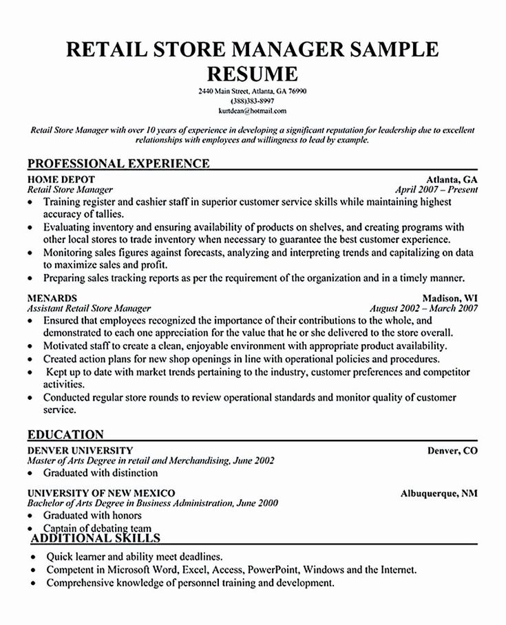 23 Retail Manager Resume Examples in 2020 Retail resume