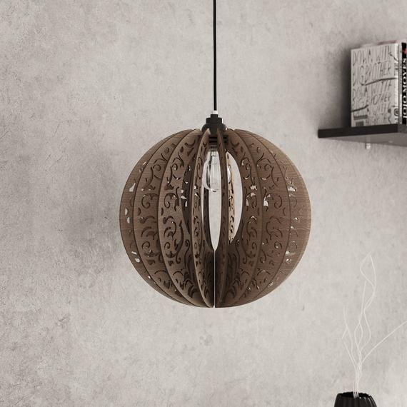 Bois Suspension Decoupe Au Laser Lustre Lampe Fait Main Etsy Wood Pendant Light Pendant Light Modern Lamp