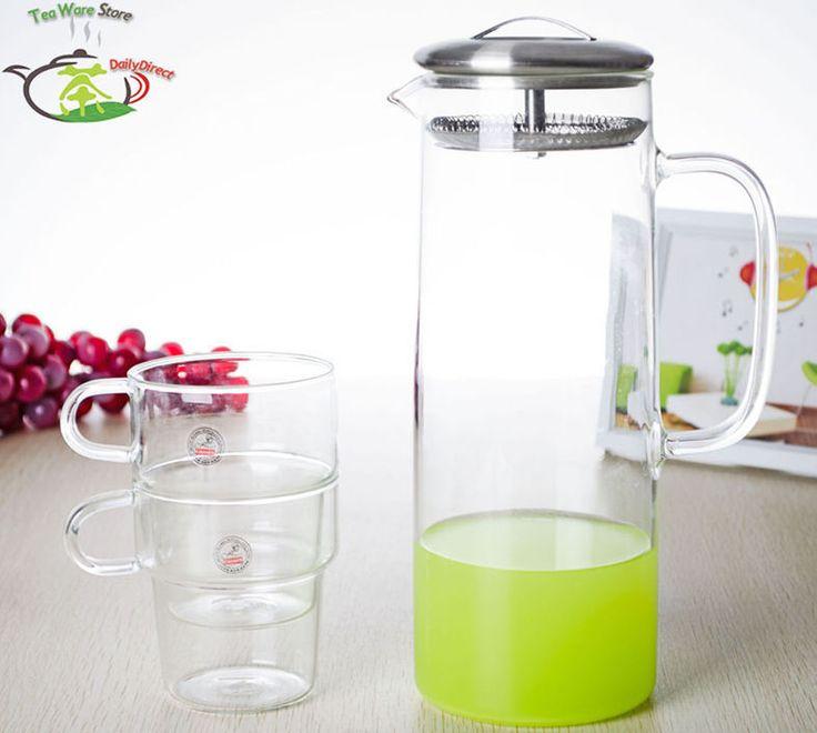 1x 3in1 указан - большая огромная 1350 мл прозрачное стекло чайник воды чайник w / нержавеющей стали фильтр крышкой + 2 * 300 мл стек-свадебные кружки(China (Mainland))