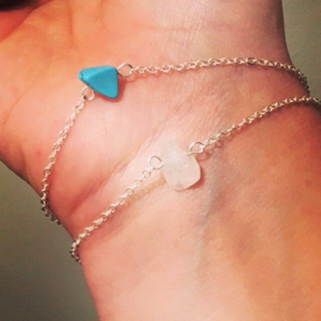 Our gorgeous customer Nicki sent us a picture of her dainty new #crystalbracelet #turquoise #rosequartz #crystaljewelry