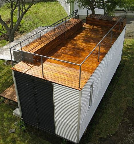 Casa Cubica Container Home 2 - love the rooftop deck. could also have this on tiny homes on wheels.