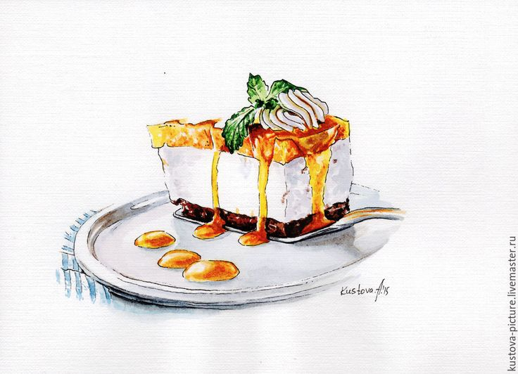 """Купить Картина акварелью """"Медовый торт"""" - картина, картина в подарок, картина для интерьера, шикарный подарок"""