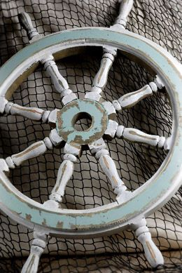 Blue & White Wood Ship Wheel 24-Inch Nautical Maritime Decor must buy another one!
