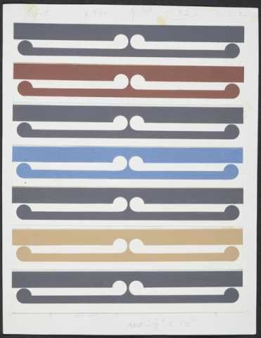 Gordon Walters, Half-size colour study for Kura, 1982, acrylic on paper on card