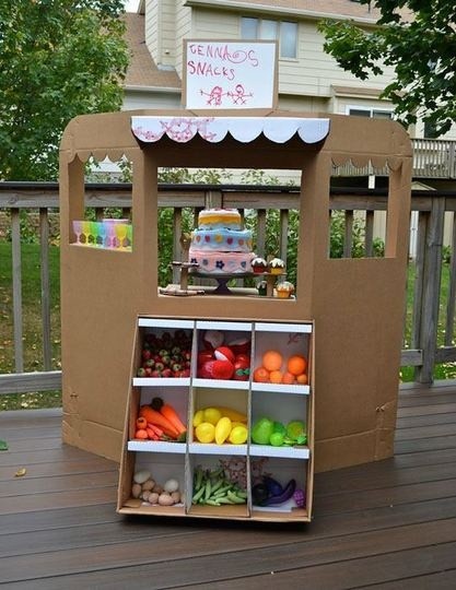 cute, cheap way to set up a grocery store for dramatic play