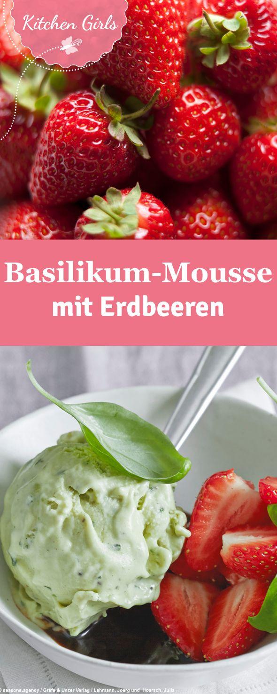 Rezept für Basilikumcreme mit Balsamico-Erdbeeren