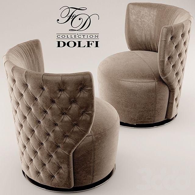 3d модели: Стол + стул - Стол и стул sedia capitonnе girevole dolfi