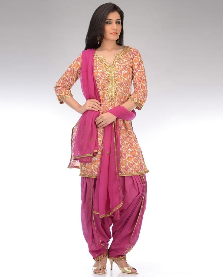Orange and Brink Pink Printed Patiala Suit