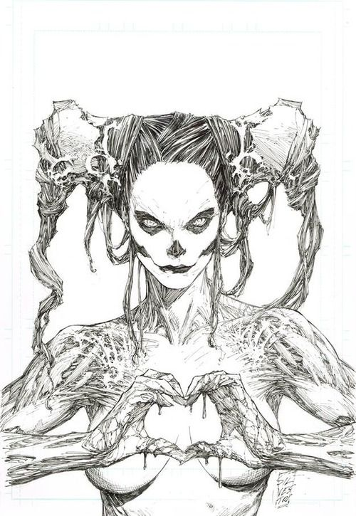 Macabre satire of the ubiquitous hand-heart sign. Illustration by Marc Silvestri. - Comic Art by Marc Silvestri