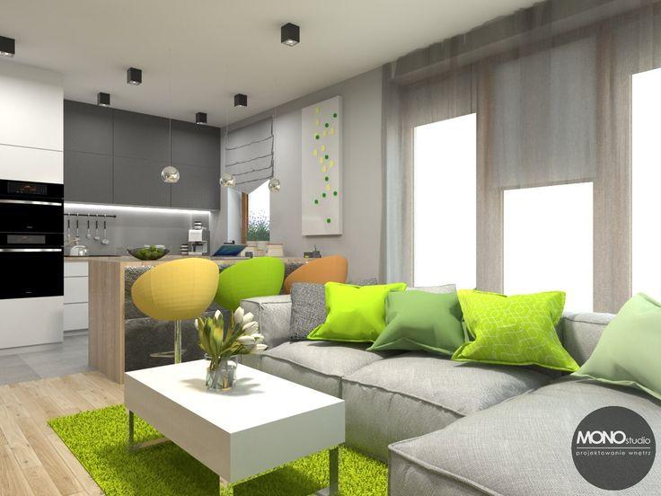 Jaskrawe kolory zieleni i żółci idelanie komponują się z bielą i szarością mebli. Po więcej inspiracji zapraszamy na Naszą stronę internetową: biuro@monostudio.pl oraz na Facebooka