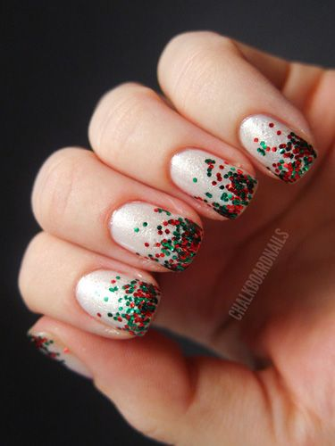 These winter nails are glitter dipped in red and green sparkles.