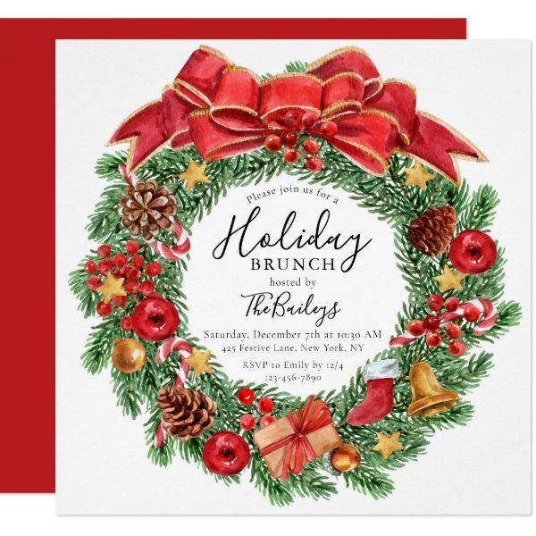 Christmas Day Brunch 2021 Near Me Holiday Brunch Christmas Brunch Chic Floral Invitation Zazzle Com In 2021 Floral Invitation Christmas Brunch Corporate Christmas Parties