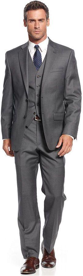 $650, Lauren Ralph Lauren Charcoal Vested Suit. Sold by Macy's. Click for more info: https://lookastic.com/men/shop_items/84710/redirect