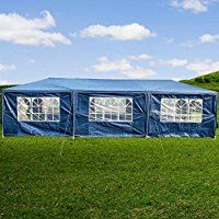 Sundale Outdoor 10x30Ft Outdoor Canopy Tent Wedding Party Gazebo Pavilion Cater with 8 Side Walls (Blue)