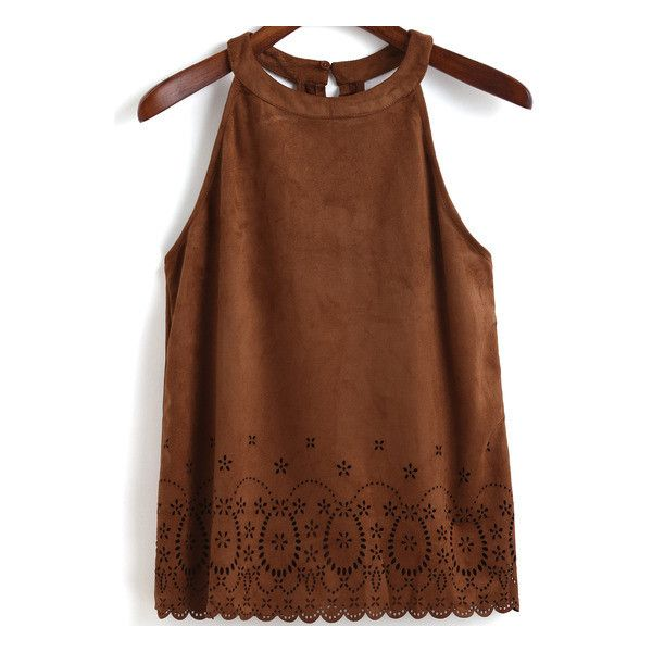 SheIn(sheinside) Khaki Halter Hollow Scalloped Cami Top (€14) ❤ liked on Polyvore featuring tops, khaki, brown camisole, vintage tops, brown cami top, embellished tops and vintage camisole