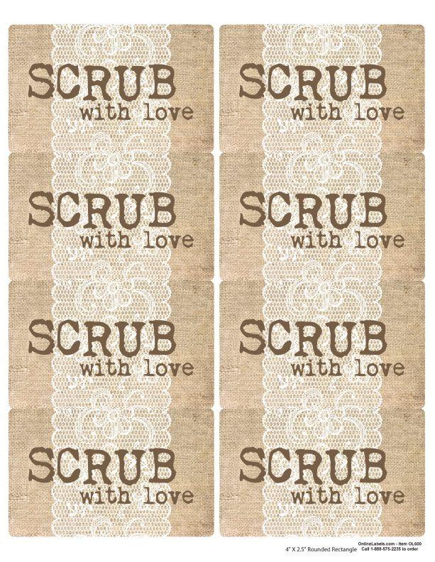 Sugar Scrub Burlap and Lace Printable Jar Labels