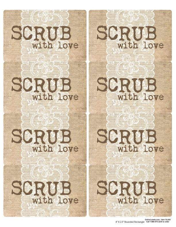 Sugar Scrub   Burlap and Lace Printable Jar Labels