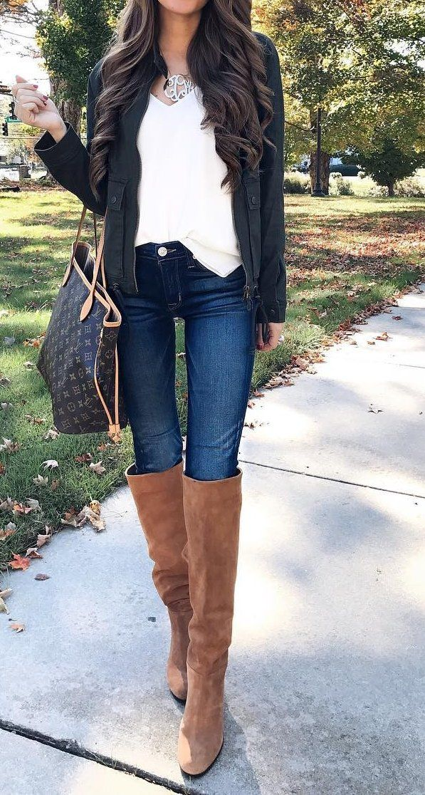 #fall #fashion ·  Undefinedleahter Jacket + Suede Knee Length Boots + Skinny Jeans