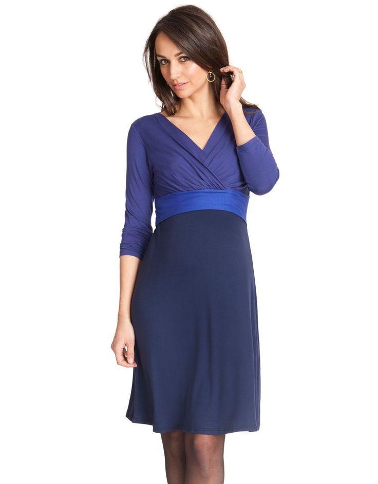 Navy & Sapphire Colour Block Nursing Dress | Seraphine