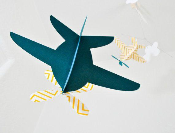 Baby mobiel vliegtuigen in gele Chevron en Teal door CactusAndOlive