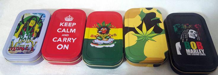 Tobacco Stash Rizla Smoking Gift 1oz Tin Keep Calm Carry On Bob Marley Weed